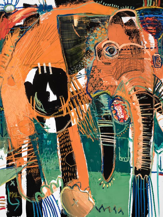 Elephant 2 McClendon Fine Art Modern Fine Art Asheville Painting